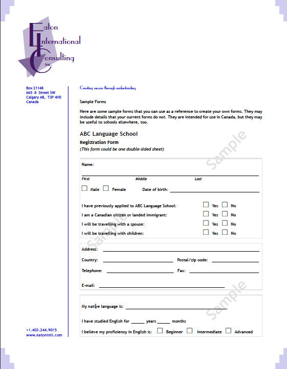 Sample Forms Language School Application and Photo Release
