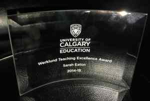 Werklund School of Education Teaching Excellence Award 2014-2015