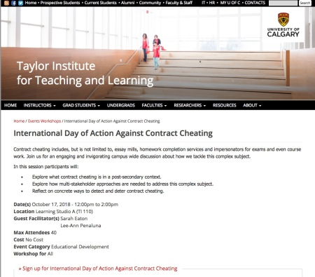 2018 International Day of Action Against Contract Cheating