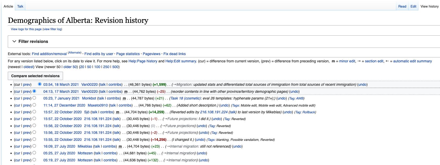 "Screenshot 05: Revision history for Wikipedia page ""Demographics of Alberta"". Screenshot taken April 3, 2021 at 08:27"