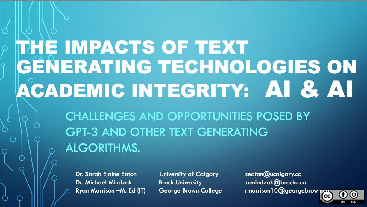 Eaton, Mindzak & Morrison - GPT-3 and academic integrity